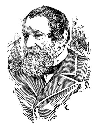 Cyrus Hall McCormick 1809 to 1884 he was an American inventor and the founder of the McCormick Harvesting Machine Company vintage line drawing or engraving illustration Illustration