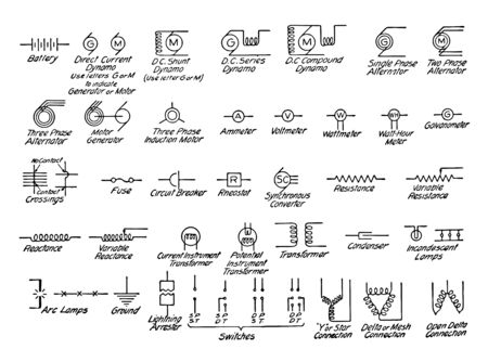 Electrical Symbols commonly used in mechanical drawing it is the schematic diagram of an electrical and capacitor is used to store electric charge vintage line drawing or engraving illustration.