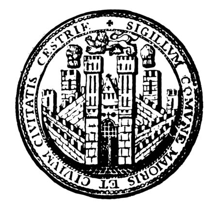 Bishopic is a coat of arms representing the city of Chester vintage line drawing or engraving illustration. Ilustracja