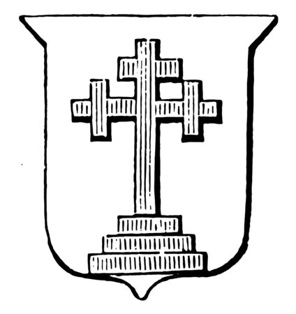 Cross Crosslet on Grieces have crosses are sometimes placed, vintage line drawing or engraving illustration.