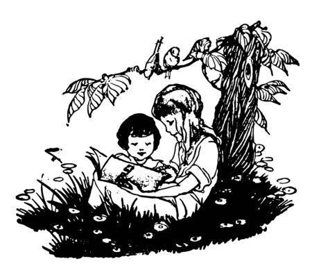 Children Reading book learning school skills benefits vintage line drawing or engraving illustration.