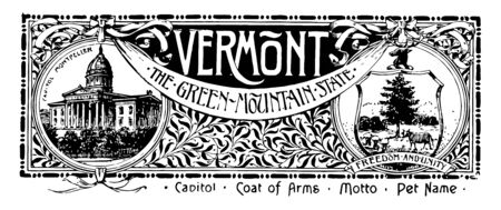 The state banner of Vermont the green mountain state this banner has state house on left side it has shield within that sheaves tree cow bucks head on right side VERMONT is written in middle vintage line drawing or engraving illustration Stock Illustratie