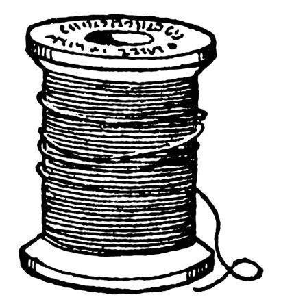 Bobbin of Thread, it's a spindle or cylinder, Bobbins are typically found in sewing machines, vintage line drawing or engraving illustration.