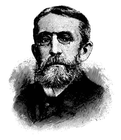Andrew Dickson White 1832 to 1918 he was an American historian and educator first president of Cornell University vintage line drawing or engraving illustration