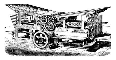This illustration represents Double Cylinder Press where it was built up to 1900 vintage line drawing or engraving illustration.