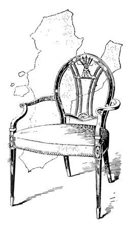 Hepplewhites Armchair has oval shaped backrest elegant armrest and thin front leg vintage line drawing or engraving illustration Illustration