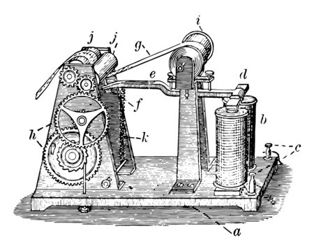 This illustration represents Morse Recorder which is used to record Morse code on a roll of paper vintage line drawing or engraving illustration.