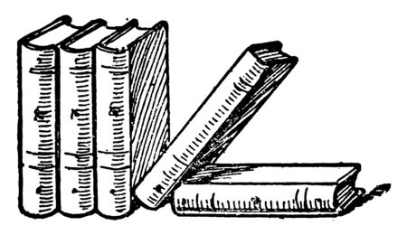 Five Books or Famous Five series of books vintage line drawing or engraving illustration.