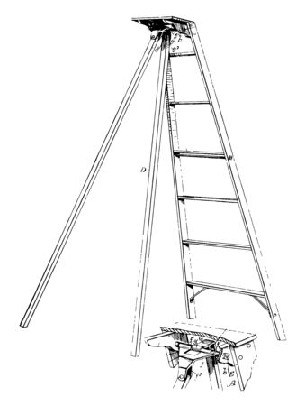 This illustration represents function of Folding Step Ladder, vintage line drawing or engraving illustration. Illustration