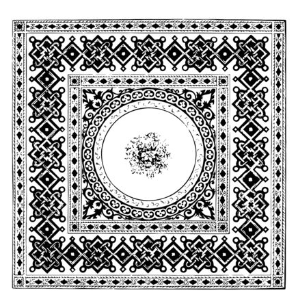Floor Rug is designed in a geometric style, It is used as a floor covering and for decorative purposes, vintage line drawing or engraving illustration. Çizim