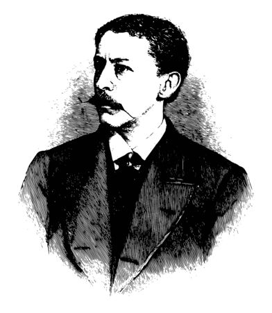 Thomas Bailey Aldrich, 1837-1907, he was an American writer, poet, critic, and editor, famous for his work in stories of bad boy, vintage line drawing or engraving illustration Foto de archivo - 133037317