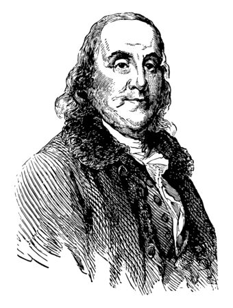 Benjamin Franklin 1706 to 1790 he was polymath author printer politician inventor of the franklin stove lighting rod and bifocal glasses and one of the founding fathers of the United States vintage line drawing or engraving illustration