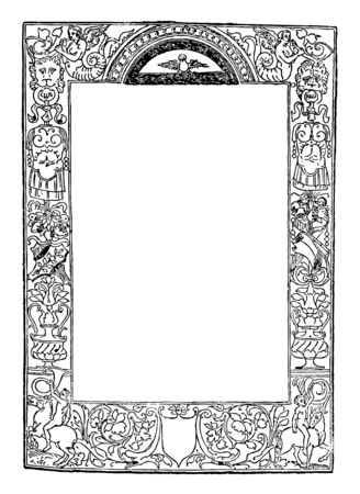 Ornate Border have decorated with cherubs and busts, vintage line drawing or engraving illustration.