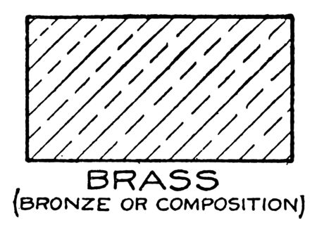 Mechanical Drawing Cross Hatching of Brass is the technique for brass shading round holes and round projections method employed for showing composition vintage line drawing or engraving illustration.