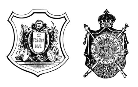 Coat of Arms or the French Republic and Imperial Arms, vintage line drawing or engraving illustration.