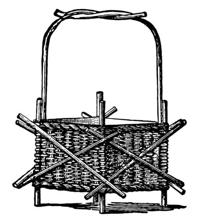 Wicker to Work Jardiniere used to hold decorative plants it is a kind of furniture woven from any one of a variety of cane to like materials vintage line drawing or engraving illustration. Illusztráció