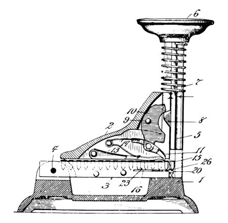 This illustration represents Stapling Machine where inserts staples into sheets of paper in order vintage line drawing or engraving illustration.