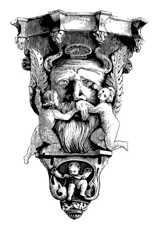 Pedestal is designed with four figures, the base or support on which a statue, column is mounted, vintage line drawing or engraving illustration.