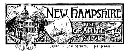 The state banner of New Hampshire the granite state this seal has state house in circle in middle shield with sun rays and sailing ship vintage line drawing or engraving illustration
