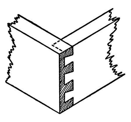 This illustration represents Lap Dovetail Joint which is a useful structural joint, vintage line drawing or engraving illustration.