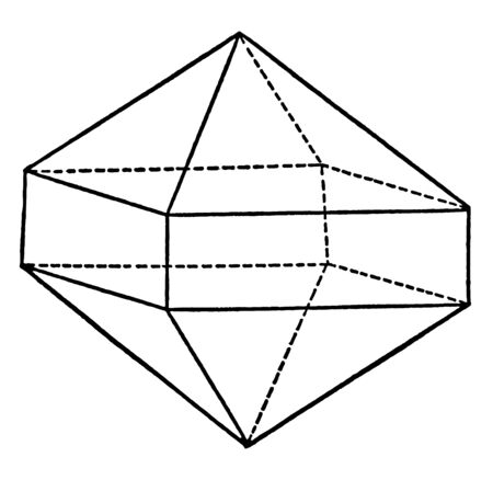 This diagram represents Union of a Pyramid and a Prism of the Same Order, vintage line drawing or engraving illustration. Ilustração