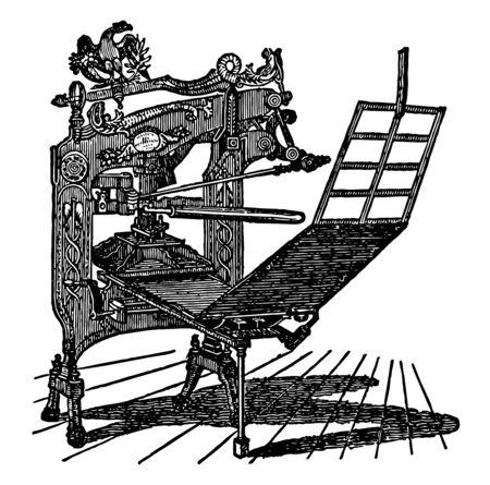 Diese Abbildung stellt Columbian Press dar, die zum Drucken von Vintage-Linienzeichnungen oder Gravierillustrationen verwendet wird. Vektorgrafik