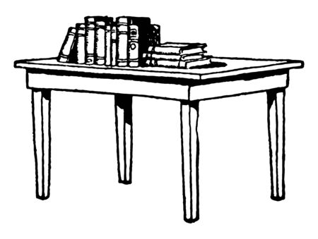 Table with Books on top, furniture, la mesa, libros, table, vintage line drawing or engraving illustration. 向量圖像