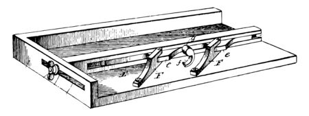 This illustration represents Printers Galley where In printing and publication proofs are preliminary versions of publications vintage line drawing or engraving illustration.