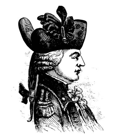 Capt. Charles Asgill 1762 to 1823 he was a soldier in the British Army and British prisoner during the American Revolutionary War vintage line drawing or engraving illustration Stock Illustratie