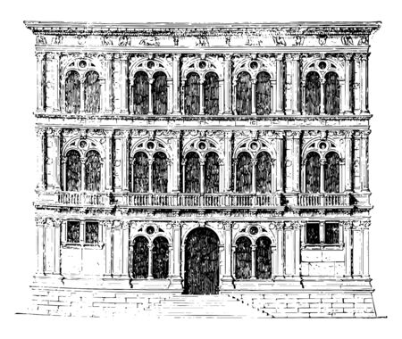 Vendramin Palace at Venice freedom of intervention is perceptible in the buildings early period of the Venetian Renaissance style part of the University of Venice vintage line drawing or engraving illustration.