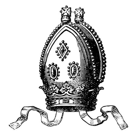 An Archbishops Mitre is an example of a modern archbishops vintage line drawing or engraving illustration.