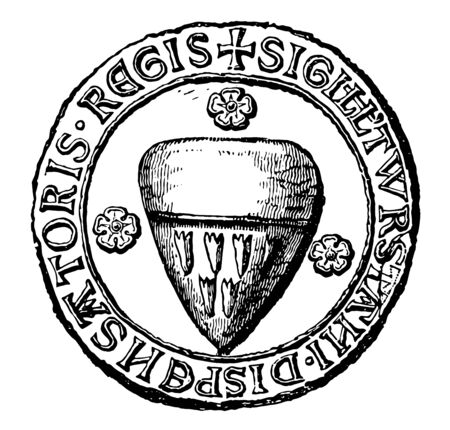 Seal of Thurstan is the heraldic seal of the archbishop of York vintage line drawing or engraving illustration. 일러스트