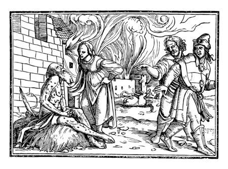 Iconibus Illustrata was created by German artist Hans Holbein vintage line drawing or engraving illustration. Illustration