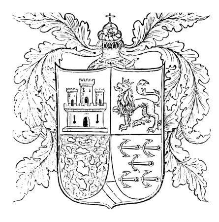 Arms is the quartering of the royal lion and castle for Arragon and Castile it is an escutcheon forms the central element of the full heraldic achievement vintage line drawing or engraving illustration.