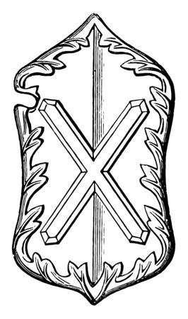 Heraldic Shield from the Abbey Church vintage line drawing or engraving illustration.