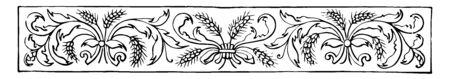 Banner have Several stocks of wheat bundled together vintage line drawing or engraving illustration.