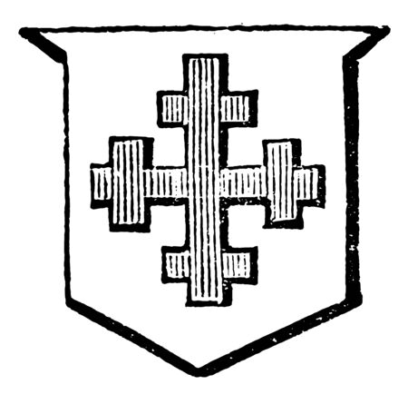 Cross Crosslet is an honorable ordinary, vintage line drawing or engraving illustration.