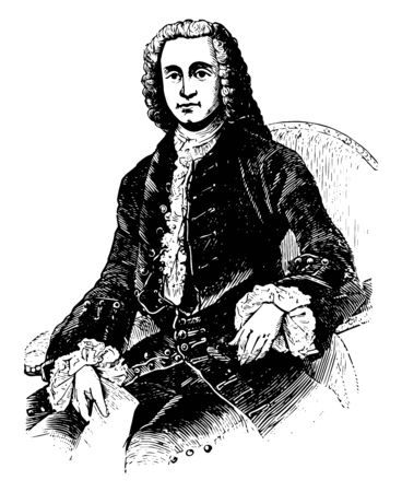 George Grenville was a British Whig statesman who served in government for the relatively short period of seven years vintage line drawing or engraving illustration.