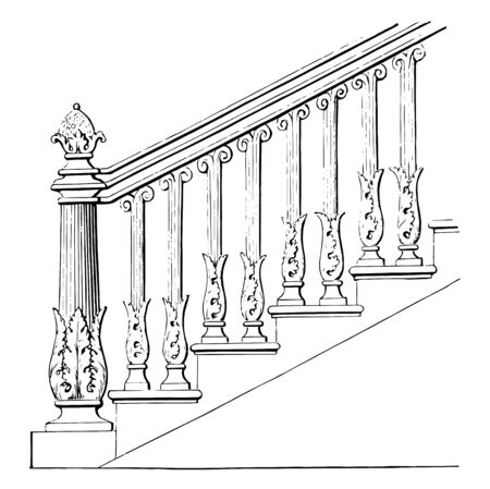 Stair Rail is made out of earthenware, welded steel rod, reads, stair handrails, vintage line drawing or engraving illustration. Illustration