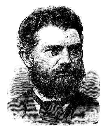 Simon Newcomb 1835 to 1909 he was a Canadian–American astronomer applied mathematician autodidactic polymath and professor of Mathematics in the U.S. Navy vintage line drawing or engraving illustration