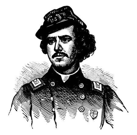 Ephraim Elmer Ellsworth 1837 to 1861 he was a lawyer and American soldier famous as the first conspicuous casualty and the first Union officer killed in the American civil war vintage line drawing or engraving illustration Illusztráció