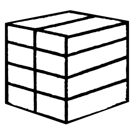 Froebels divided cube or eight smaller parallelograms, encourage creativity, vintage line drawing or engraving illustration.
