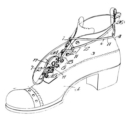 Laced Shoe was a part or device functions as a protective covering vintage line drawing or engraving illustration. Çizim