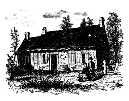 Washington established headquarters at Tappan New York vintage line drawing or engraving illustration.
