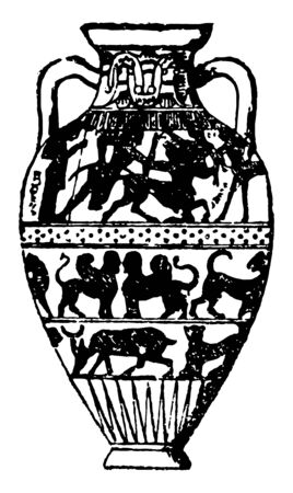 Amphora are jars with narrow necks and two handles used by ancient Greeks for transporting oil or wine descending from at least as early as the Neolithic Period vintage line drawing or engraving illustration.