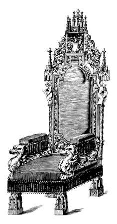 Arm chair is beautifully craved with birds, angels, leaf designs, vintage line drawing or engraving illustration Ilustração