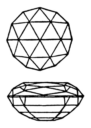 Double Brilliant Cut gem sometimes called Lisbon, vintage line drawing or engraving illustration.