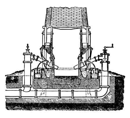 This illustration represents Refinery which the fuel is piled vintage line drawing or engraving illustration. Ilustração