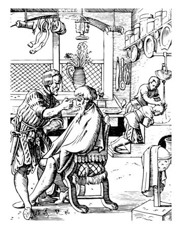 This illustration represents Barber Shop where a person cuts hair especially men and shaves or trims beards as an occupation, vintage line drawing or engraving illustration. Standard-Bild - 133037402