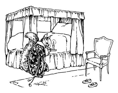 A squirrel wearing a robe and holding a candle standing near a four poster bed chair kept near bed vintage line drawing or engraving illustration